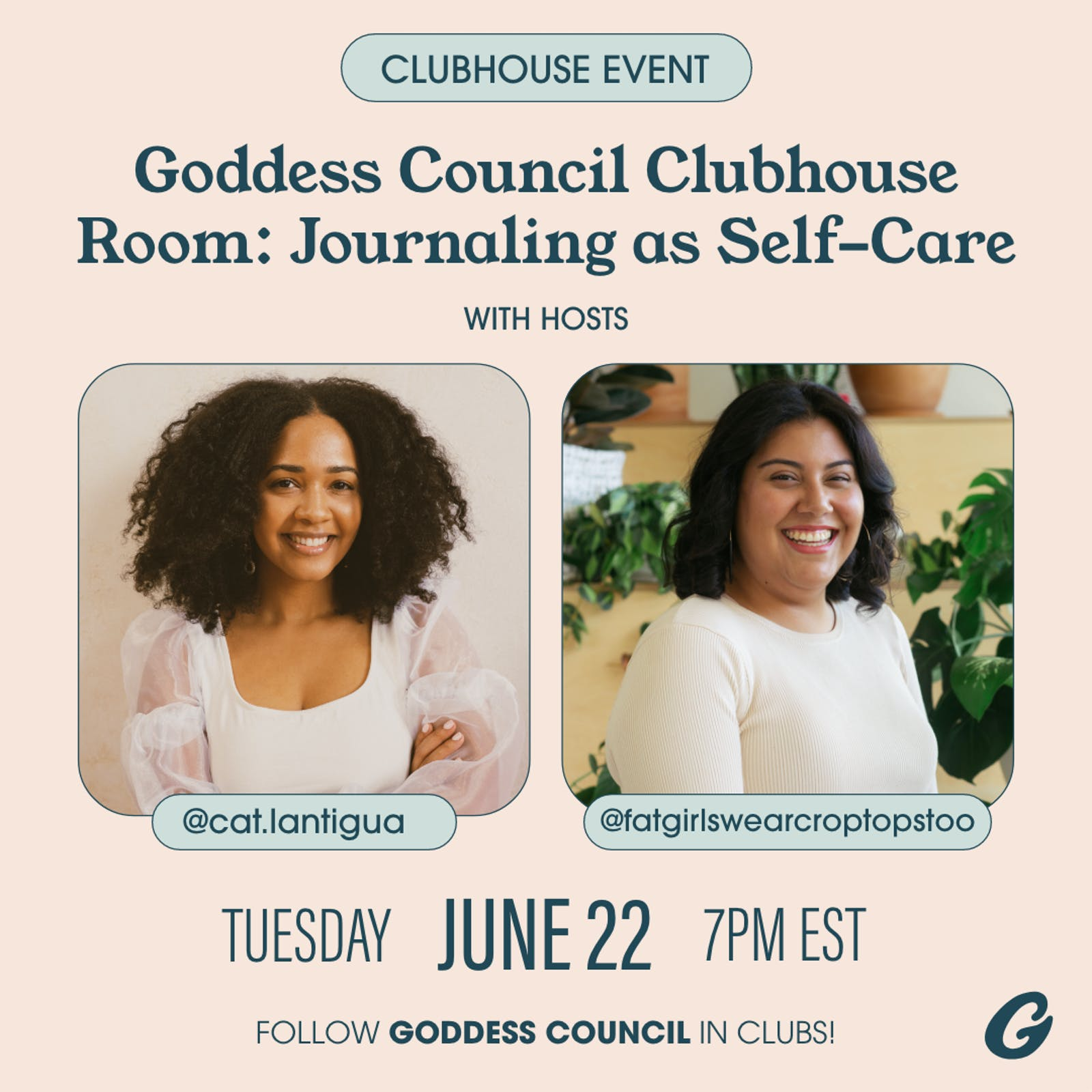 Goddess Council Clubhouse Room: Journaling as Self-Care